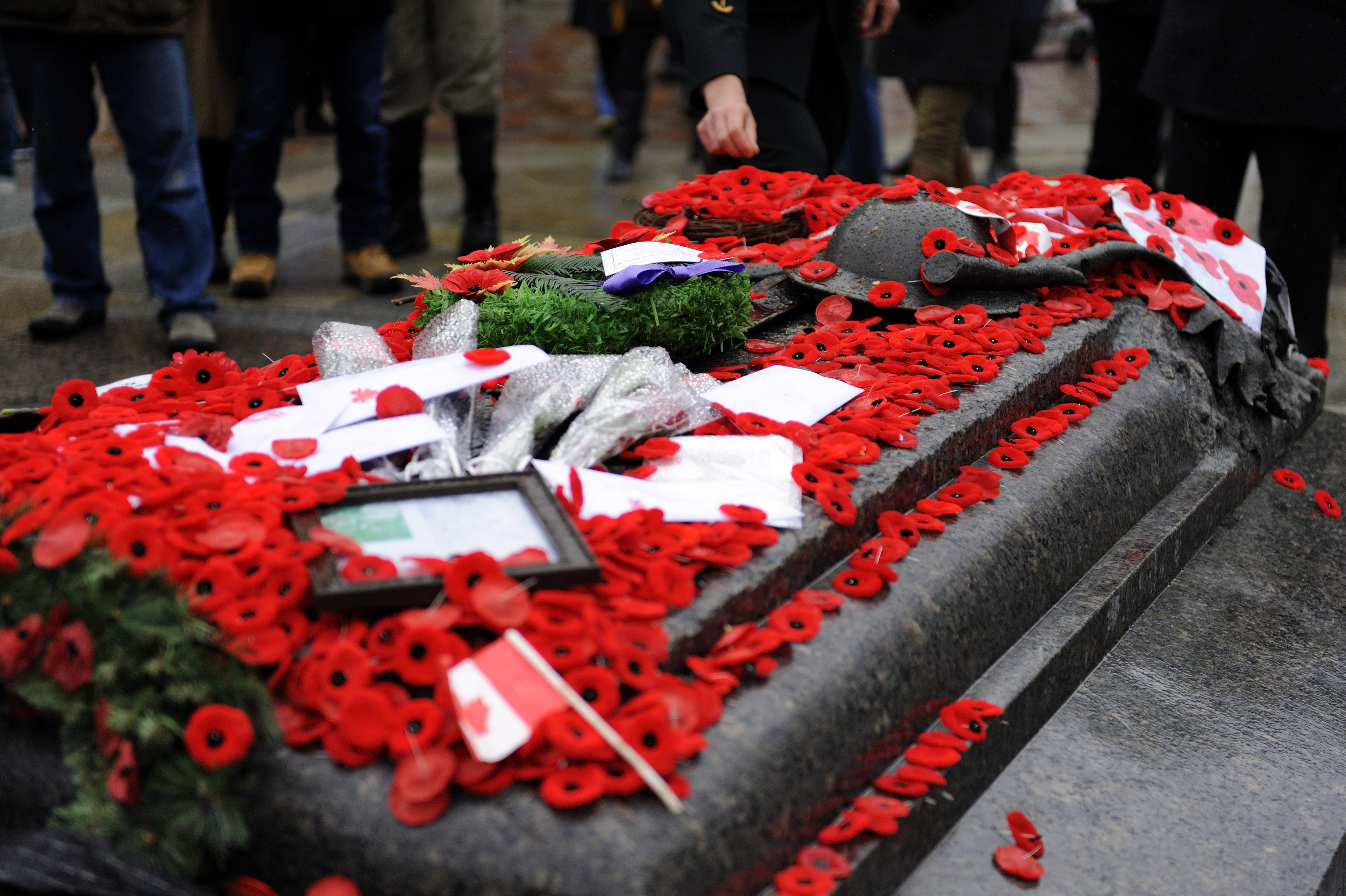 The Tomb of the Unknown Soldier is blanketed with poppies, wreaths, flags and images at the National War Memorial following the Remembrance Day ceremony in Ottawa, Ontario on November 11, 2013.