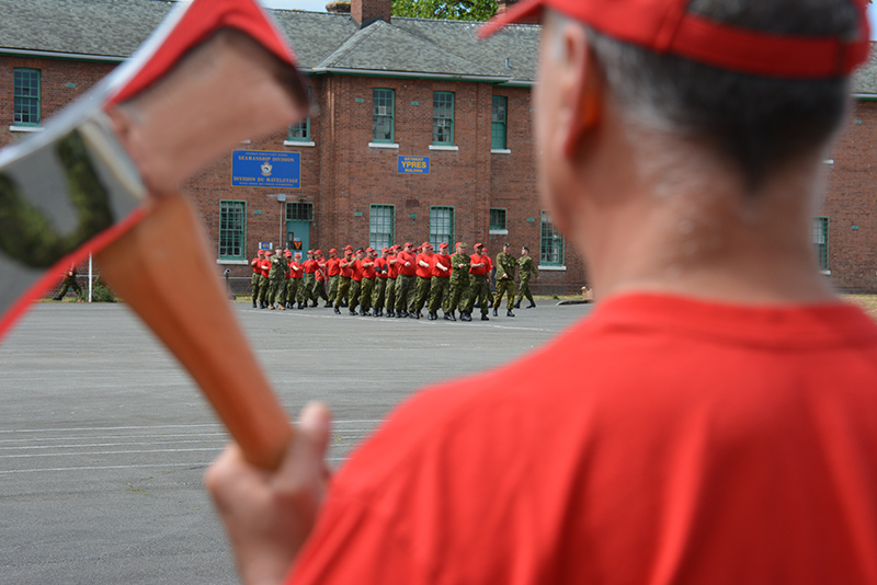 Canadian Rangers (CRs) from across Western Canada march on to the parade square during parade rehearsal at Work Point in Victoria, BC.  The CRs were practicing their parade drill as part of Exercise BEST FOOT FORWARD in preparation for the 4th Canadian Ranger Patrol Group Change of Command ceremony held on 26 June 2016. 