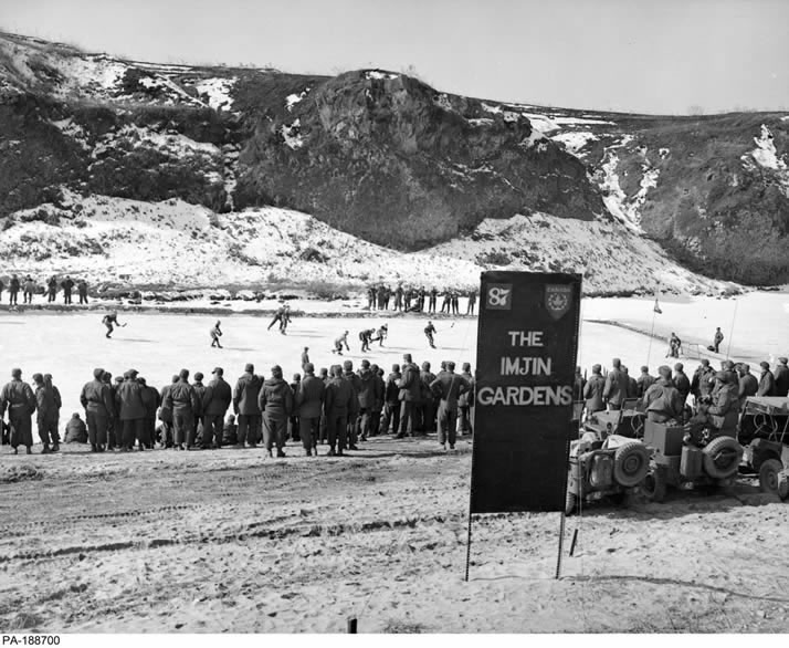 "When Canadian soldiers serving in the Korean War were given time away from their dangerous front-line duties, their thoughts often turned to sports. Winters in Korea are harsh and the rivers would freeze as the temperatures dropped. Canadians stationed near the Imjin River decided to make use of all that ice and created a makeshift outdoor rink they dubbed ""Imjin Gardens"". The first games were played in 1952."
