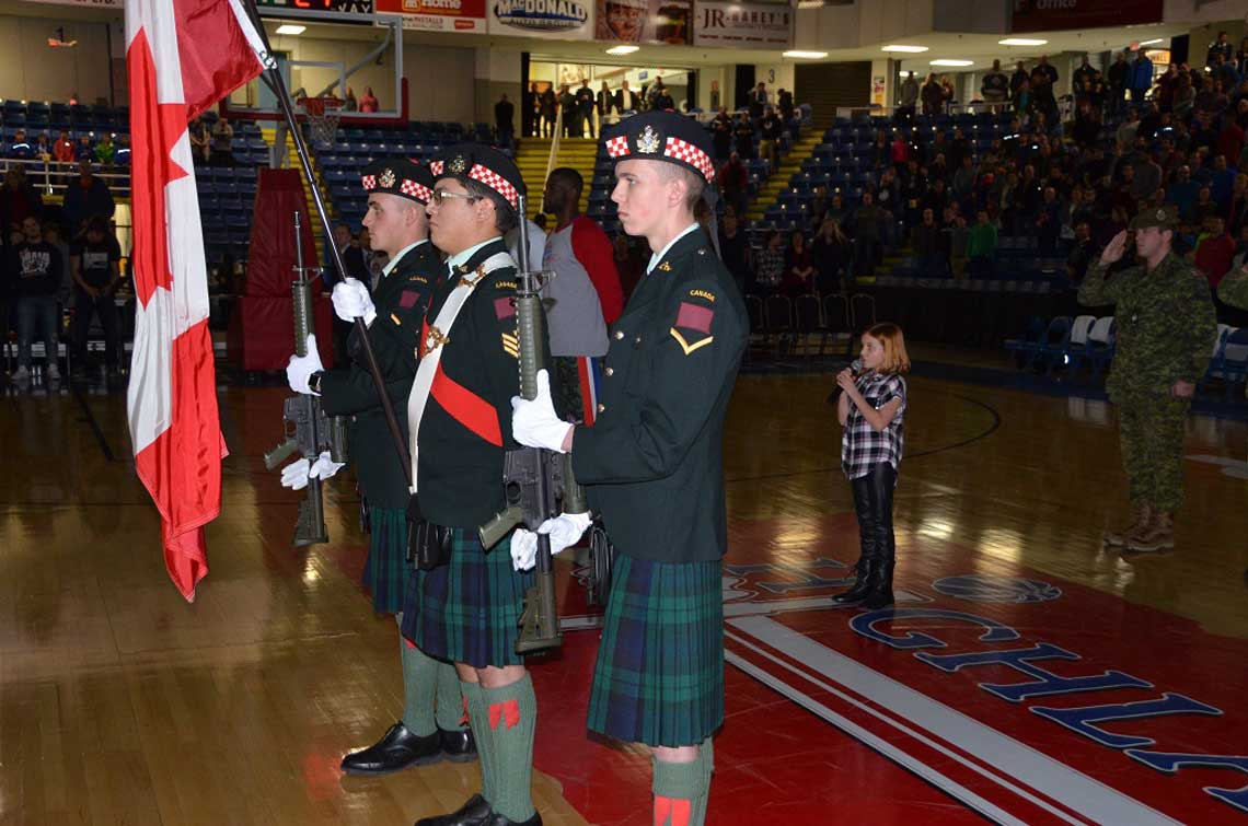 The Cape Breton Highlanders Flag party in position for the singing of the national anthem at the Cape Breton Highlanders basketball game at Centre 200, Sydney, N.S. 