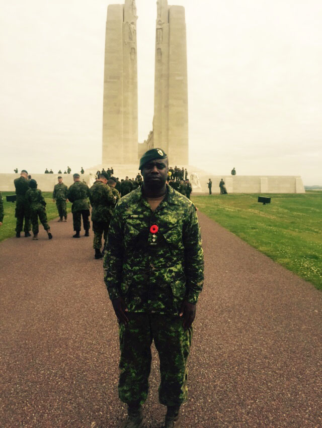 Captain Christopher Stobbs visits the Canadian National Vimy Memorial in July, 2016. Capt Stobbs trained and led a team to successful completion of Joint Task Force Nijmegen 2016, the 100th annual International Four Days Marches Nijmegen in the Netherlands. The CAF contingent, which represented all the ranks, trades, and diversity of Canada's military, visited the monument to commemorate Canada's First World War legacy following the march. 