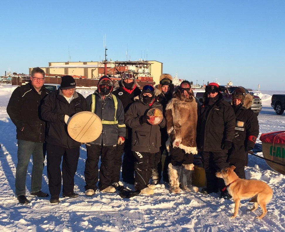 Hay River, Northwest Territories Mayor Brad Mapes and Kátł'odeeche First Nation Chief Roy Fabien joined ultrarunner Brad 'Caribou Legs' Firth and members of 1 Canadian Ranger Patrol Group at the start of Mr. Firth's 200-kilometre run across Great Slave Lake between March 4 and 7, 2017. Photo: Anne Peters