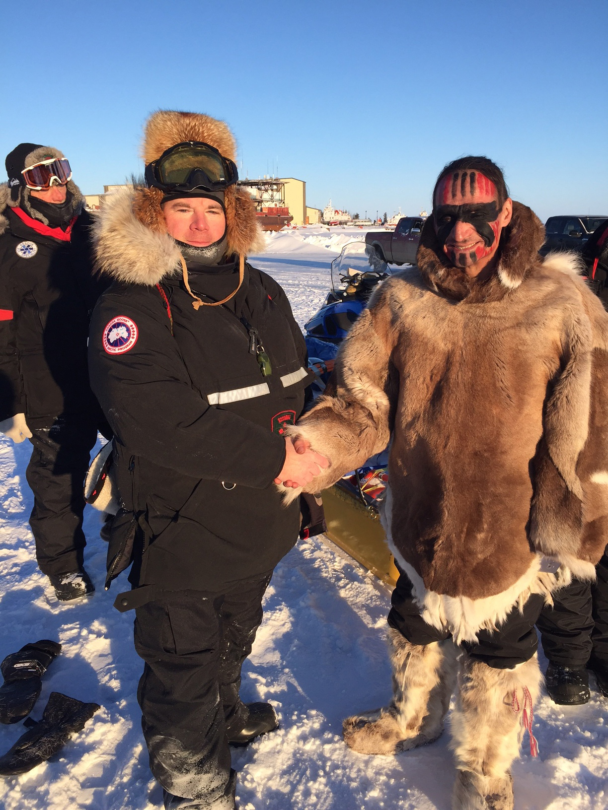 1 Canadian Ranger Patrol Group greets Gwich'in ultrarunner Brad 'Caribou Legs' Firth