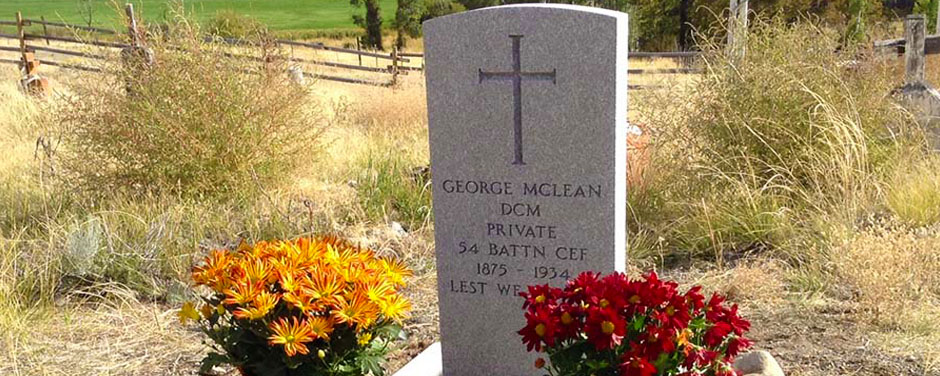 Slide - Official grave marker of Private George McLean