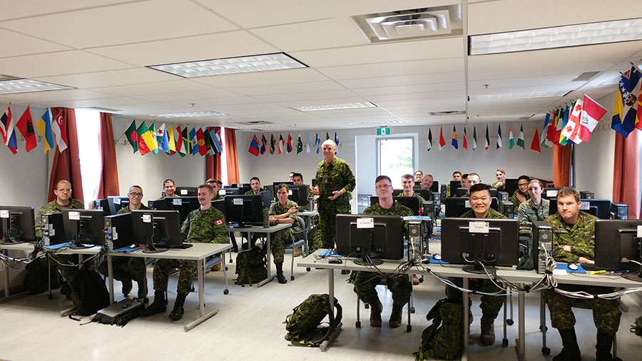 Soliders in a classroom
