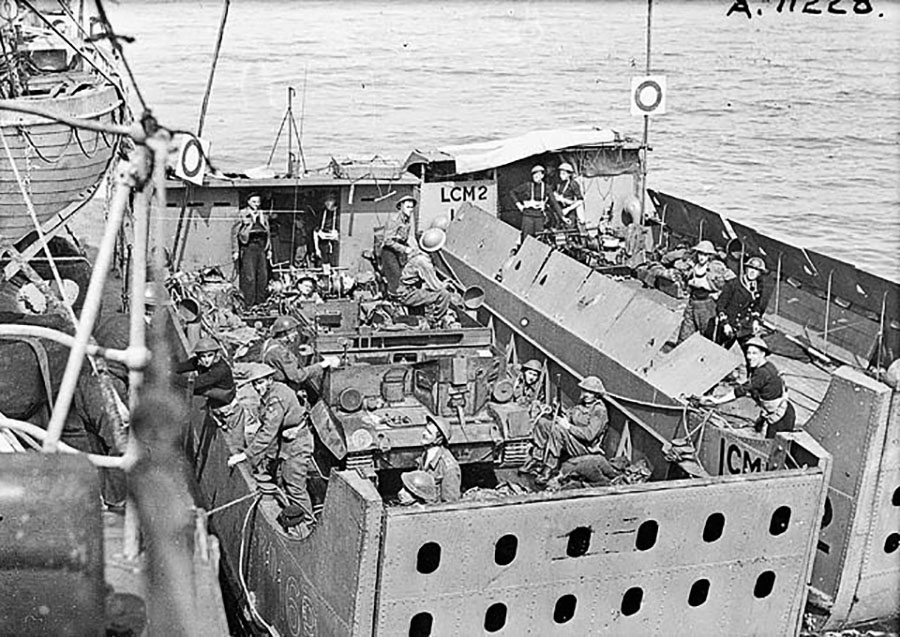 Troops in a landing craft prepare to go ashore during Operation JUBILEE, also known as the Dieppe Raid, on August 19, 1942.