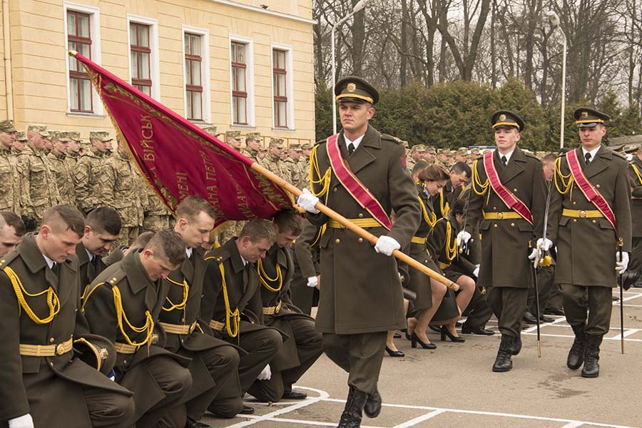 A graduation ceremony for Officer Cadets at the National Army Academy of the Armed Forces of Ukraine in Lviv, Ukraine, on Saturday March 25th, 2017. Canadian Armed Forces members, deployed under Op UNIFIER, have contributed to the training of soldiers these young officers will soon command.