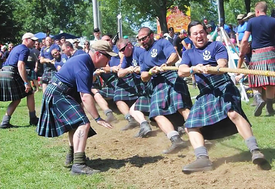 Members of the Seaforth Highlanders of Canada compete in the 2016 Highland Regiments Tug of War Challenge.