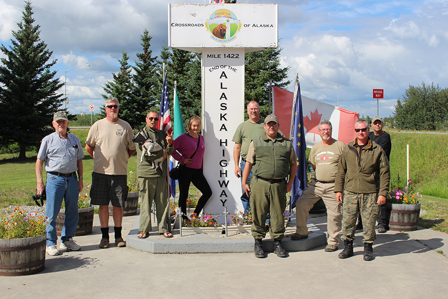 "Members of the Western Command Military Vehicle Historical Society pictured near Delta Junction, Alaska in August 2017, the final stop on their recent ""Freedom Route."" The 2,000-kilometre road trip saw them travel the length of the Alaska Highway, which was built 75 years ago by Canadian and American soldiers. Photo: William Ingram, Western Command Military Vehicle Historical Society"