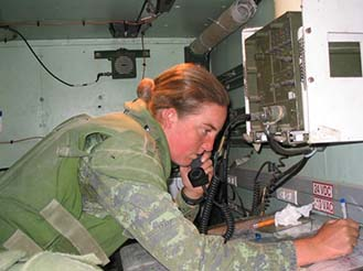 Lieutenant Sarah Heer, Artillery Officer, works as a Command Post Officer during her deployment to Kabul, Afghanistan in 2003-2004. Photo: provided by Lieutenant-Colonel Sarah Heer.