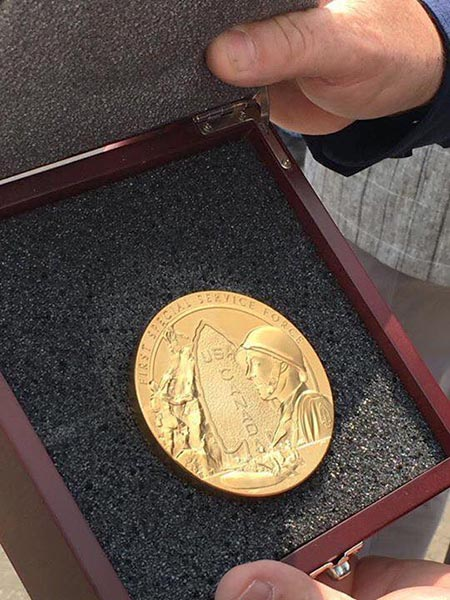 This replica of the Congressional Gold Medal awarded collectively to members of the First Special Service Force in 2015 was presented to the town of Dawson Creek, British Columbia in July.