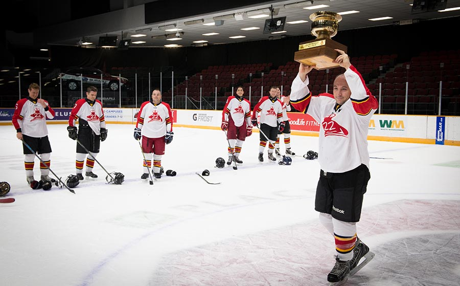 Col Steve Jourdain hoists the Imjin River Memorial Cup and celebrates with his team after the Vandoos defeat the PPCLI 2-0 in a close game. 