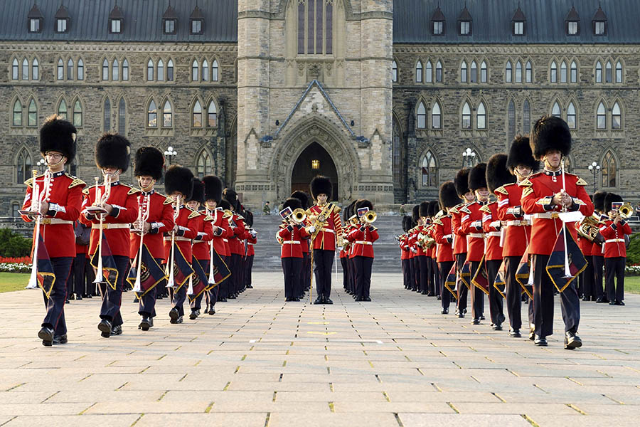 Members of the Band of the Ceremonial Guard perform on Parliament Hill in July 2014 during Fortissimo, the Canadian Army's showcase event that has occurred at sunset each July and August for more than 20 years.