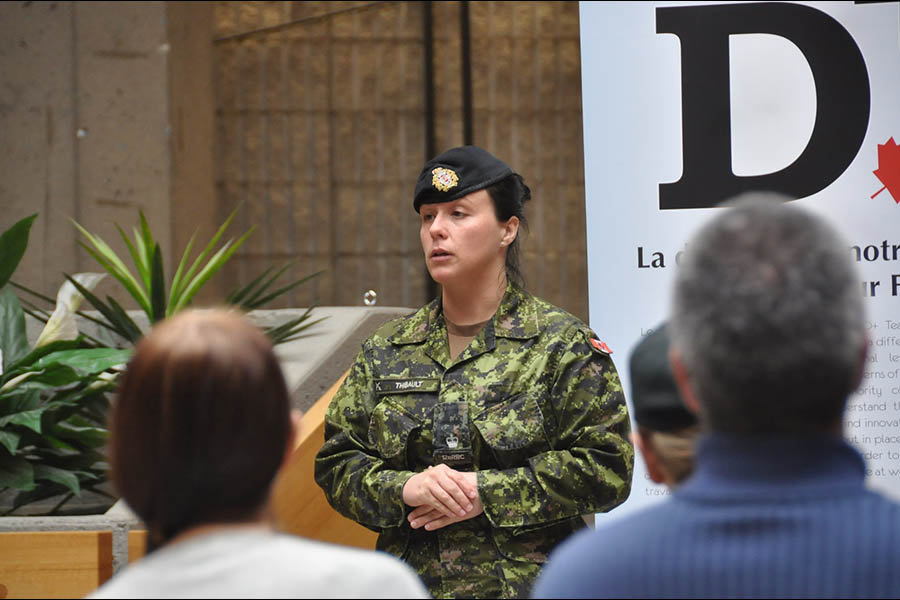Major Karine Thibault, Co-ordinator of Canadian Forces Base/Area Support Unit St-Jean