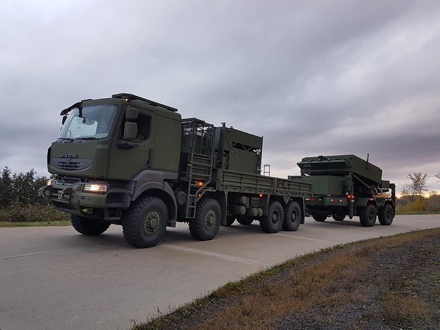 The Medium Range Radar system, which is collapsible, is transported by road using a specially-equipped vehicle (leading view) on October 25, 2017 at 5th Canadian Division Support Base Gagetown.