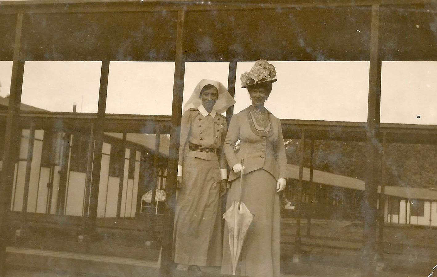 Matron Edith Campbell pictured with Queen Mary, consort of King George V, at the Duchess of Connaught Canadian Red Cross Hospital in England around 1916. Photo: Provided by Gordon McDermid, Friends of the Canadian War Museum.
