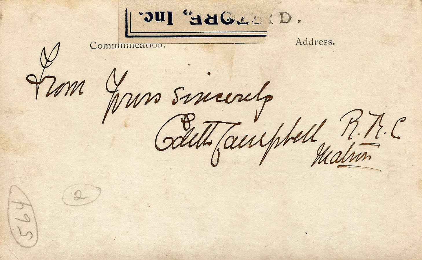 A hand-written note signed by Matron Edith Campbell appears on the reverse of her photo with Queen Mary. Photo: Provided by Gordon McDermid, Friends of the Canadian War Museum.