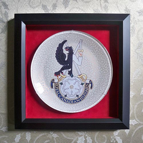 "A beautiful commemorative plate bearing the regiment's unit identification and Latin motto ""NON NOBIS SED PATRIAE"" which means ""Not for ourselves but for our country"" was presented to Her Royal Highness The Princess Royal, the Colonel-in-Chief of The Royal Canadian Hussars (Montreal) at St James's Palace in London, United Kingdom on June 27, 2019. She has held the title since 2014 but a formal audience with senior members of the Regiment was held on that date to further the relationship. Photo: Courtesy of Glass Treasures by Bonnie Saunders."