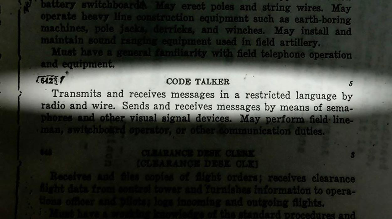 "A definition of ""Code Talker"" from a document used in the documentary Hear the Untold Story of a Canadian Code Talker from World War II."
