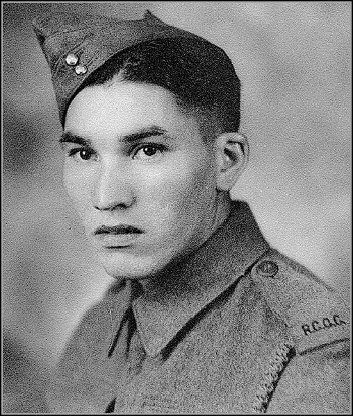 Corporal (Retired) Charles (Checker) Tomkins during the Second World War, circa 1940. He was part of a group of Indigenous Canadian soldiers who created a secret code using their own language that the enemy had no way to break. Photo: Courtesy of Alex Lazarowich