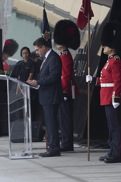 Mr. Fahim Ebrat, First Secretary of the Afghan Embassy in Ottawa, speaks to the audience during the Kandahar Cenotaph Rededication Ceremony held at the Afghanistan Memorial Hall located at National Defence Headquarters (Carling) in Ottawa, Ontario, on August 17, 2019. Photo: Ordinary Seaman Alexandra Proulx, Army Public Affairs. ©2019 DND/MDN Canada.