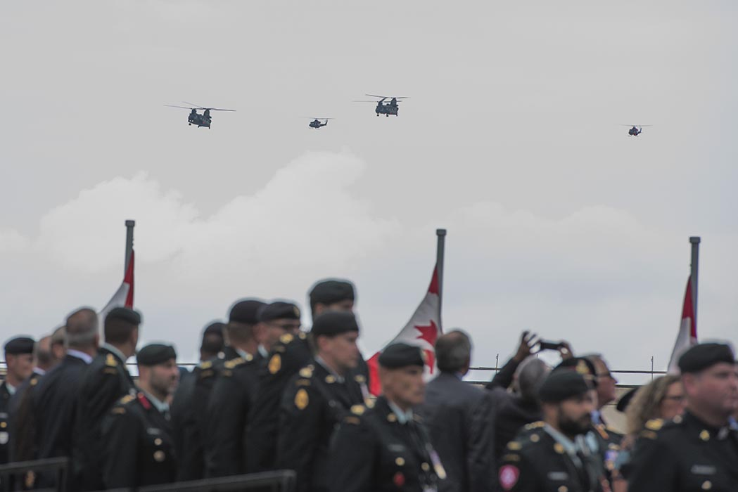 The Kandahar Cenotaph Rededication Ceremony at the Afghanistan Memorial Hall located at National Defence Headquarters (Carling) in Ottawa, Ontario, on August 17, 2019 concluded with a flypast by CH-147 Chinook and CH-146 Griffin helicopters as well as a C-130 Hercules aircraft. Photo: Ordinary Seaman Alexandra Proulx, Army Public Affairs. ©2019 DND/MDN Canada.