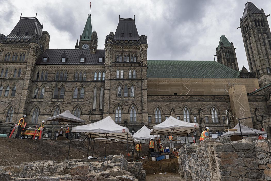 Foundation walls of a 19th century guard house beside the East Block building at Parliament Hill in Ottawa, Ontario on July 30, 2019. Photo: Able Seaman Camden Scott, Army Public Affairs. ©2019 DND/MDN Canada.