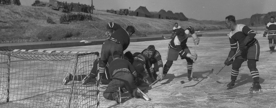 Slide - An image of the first hockey championship match