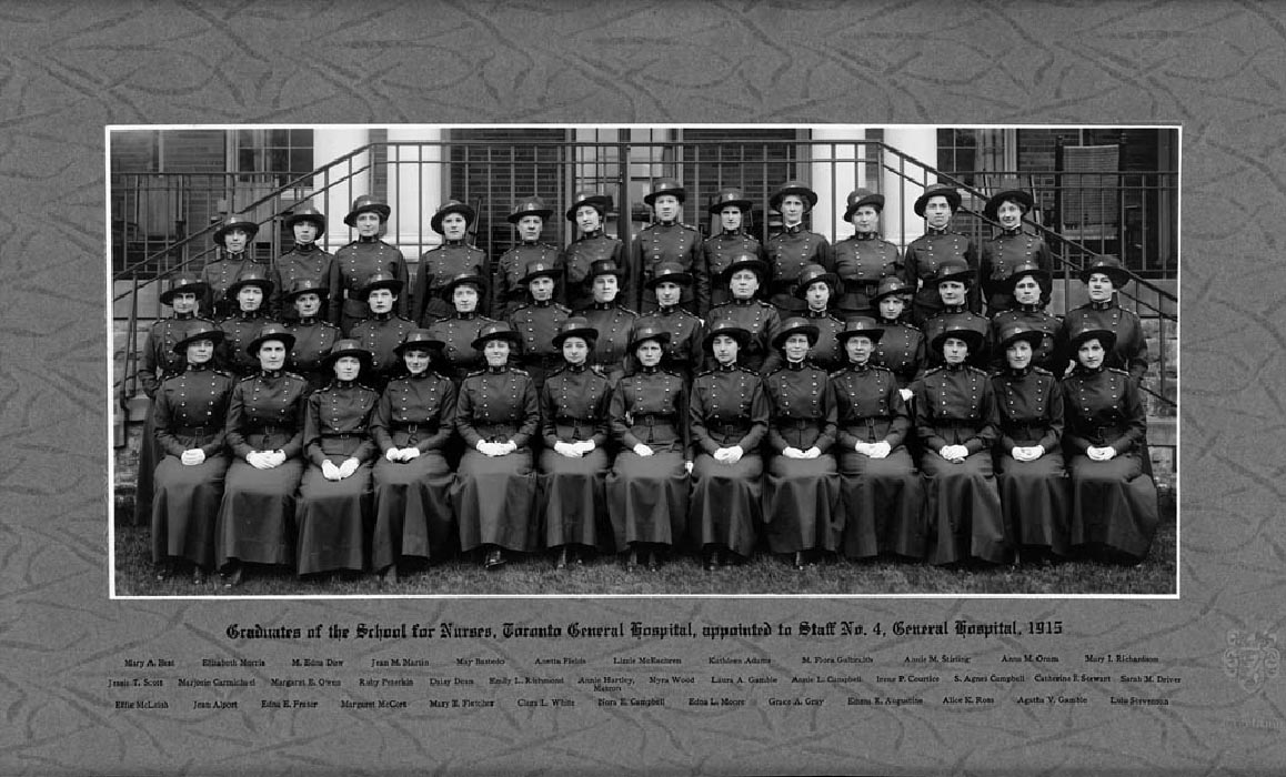 Graduates of the School for Nurses at Toronto General Hospital who were appointed to Staff No.4 General Hospital. Among them is Laura Gamble, who served in the First World War in the Mediterranean region.
