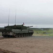The Leopard 2A4 tank is a heavy armoured, main battle tank.